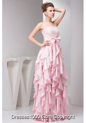 Pretty Baby Pink Empire Strapless Prom Gown Dress For Girls