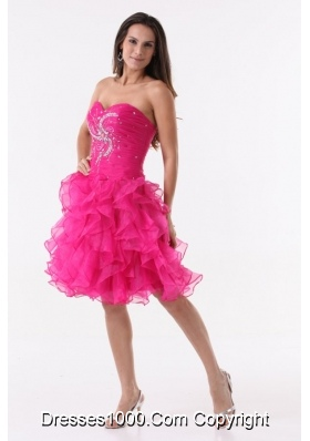 Hot Pink Princess Ruffles Beading Ruching Knee-length Cocktail Dress
