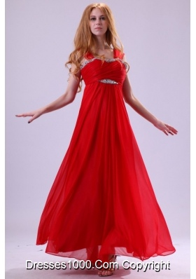 Pretty Red Empire Beading Straps Ankle-length Chiffon Prom Dress