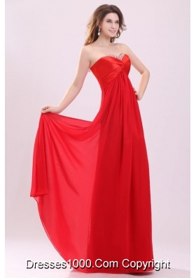 Red Empire Sweetheart Beading Floor length Chiffon Prom Dress