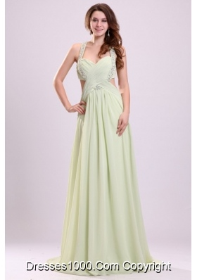 Sexy Empire Halter Chiffon Brush Train Criss Cross Prom Dress