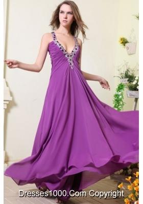 Sexy Purple V-neck Empire Chiffon Beaded Decorate Prom Dress