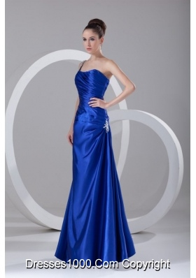 Graceful One Shoulder Appliques and Ruching Blue Prom Dress