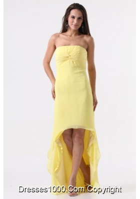 Sweet Strapless Yellow High-Low Prom Dress For Graduation Party
