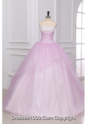 Sweet Baby Pink Strapless Appliques Floor Length Quinceanera Dress