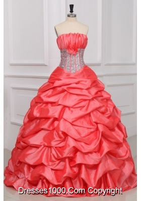 Strapless Watermelon Quinceanera Dress with Sequins and Pick-ups