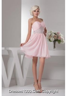 Pretty Baby Pink Sweetheart Mini-length Beading Chiffon Prom Dress