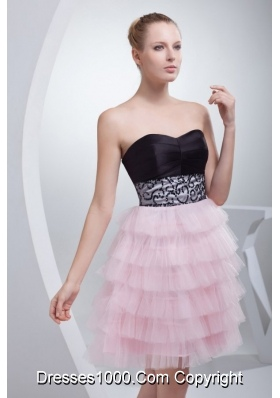 Sweetheart Mini-length Ruffled Beading Prom Dress with Side Zipper
