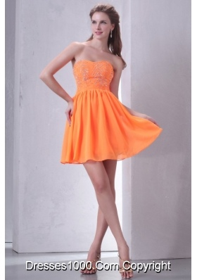 Sweet Orange Empire Mini-length Beading Decorated Prom Dress