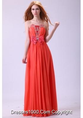 Watermelon Strapless Empire Chiffon Beading Long Prom Dress