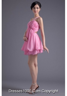 Lovely Single Shoulder Mini-length Chiffon Prom Dress for Ladies