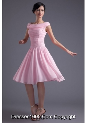 Cute Baby Pink Bateau Knee-length Chiffon Dress for Prom