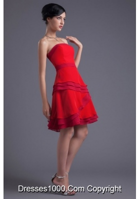 2014 Cute Mini-length Cocktail Dress in Red with Strapless Neck