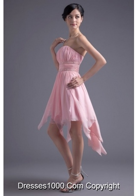 Lovely Empire Strapless Pink High-low Prom Gowns in Chiffon