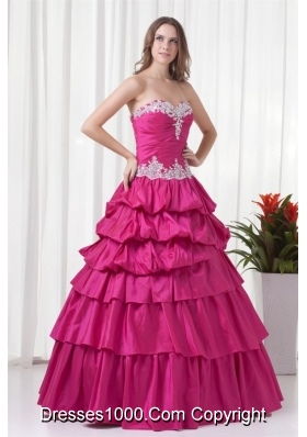 Sweetheart Fuchsia Taffeta Tiered Floor-length Quinceanera Gowns