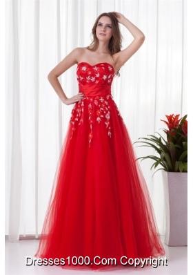 2014 Sweetheart Beaded Floor-length Red Prom Dress