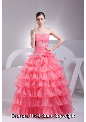 Ruche and Appliques Ruffled Layers Organza Quinceanera Gowns