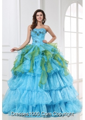 Sweet 15 Dress in Aqua Blue and Green with Appliques in Organza