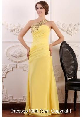 Paillettes One Shoulder Sheath Ruching Chiffon Prom Gown Dress