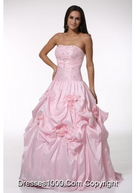 Ball Gown Strapless Light Pink Quinceanera Dress with Handmade Flowers