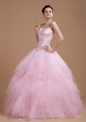 Strapless Ruffles and Sequins Baby Pink Tulle Quinceanera Dresses