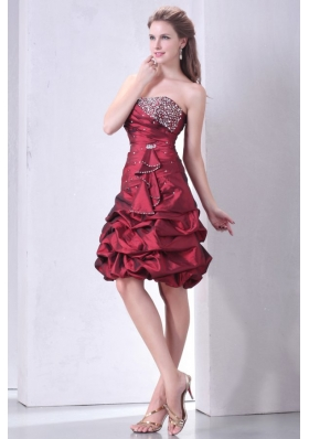 Strapless Burgundy Knee-length Prom Gown with Beading and Pick-ups