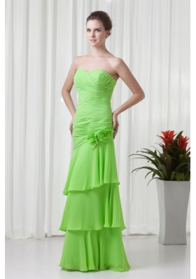 Green Column Ruche and Handle Flowers Chiffon Prom Dresses