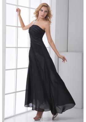 Black Column One Shoulder Ruched Ankle-length Chiffon Prom Dress