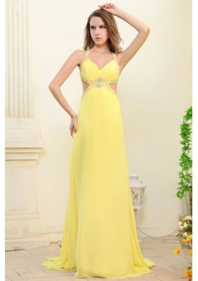 Column Straps Light Yellow Chiffon Dress for Prom with Cut-out