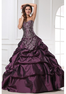 Embroidery and Pick Ups Purple Taffeta Sweet 16 Dresses for Girl