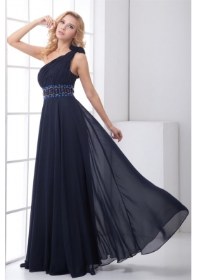 Clearance Empire One shoulder Chiffon Beaded Navy Blue Prom Gown