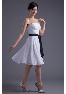 Discount Empire Short White Prom Dress with Waist Sash