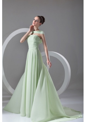 Flowy Chiffon Strapless Zipper Mint Green Plus Size Prom Dress
