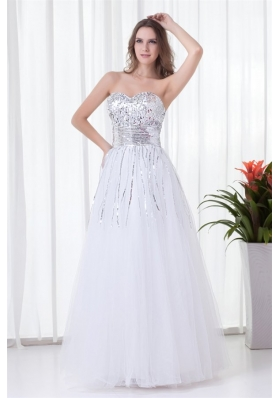 Glittering Sweetheart Sequin and Tulle Long White Prom Dress