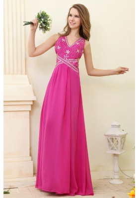 Sexy Hot Pink Empire V-neck Beaded Chiffon Prom Dress for Girls
