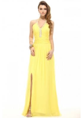 Empire Light Yellow Halter Top Beading Chiffon Prom Dress with Slit