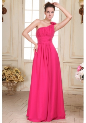 Hot Pink One Shoulder Formal Evening Dress with Hand Made Flower