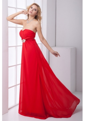 Red Empire Sweetheart Ruched Backless Prom Dress with Beading