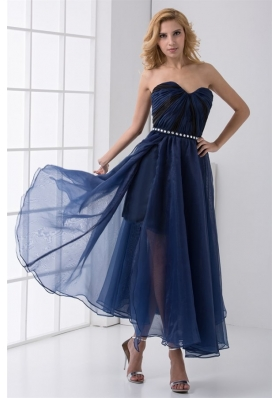 Navy Blue Empire Sweetheart Ruched Ankle-length Chiffon Prom Dress