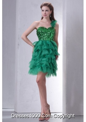 Mini-length One Shoulder Green Cocktail Dress with Sequins