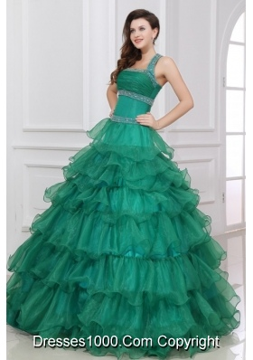 Emerald Green Halter-Neck Tiered Quinceanera Dress with Beading