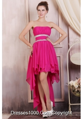Fashionable Hot Pink High-low Beaded Prom Dress with Ruching