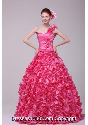 Unique One Shoulder Hot Pink Ruffled Zipper-up Quinceanera Dresses