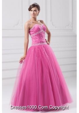 Sweetheart Hot Pink Beaded Tulle Floor-length Quinceanera Dress