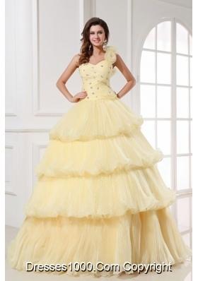 Asymmetrical Neckline Layered Light Yellow Quinceanera Dresses