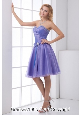 Lovely Beading Sweetheart Knee-length Lavender Organza Prom Gown