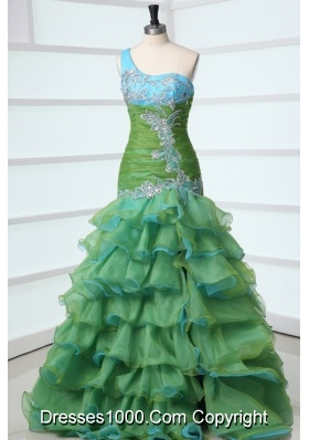 One Shoulder Ruffled Layers and Appliques Organza Prom Gown