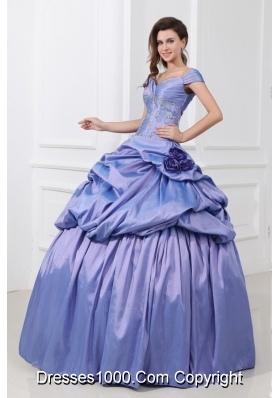 Cap Sleeves Pick Ups and Handle Flowers Taffeta Sweet 15 Dresses
