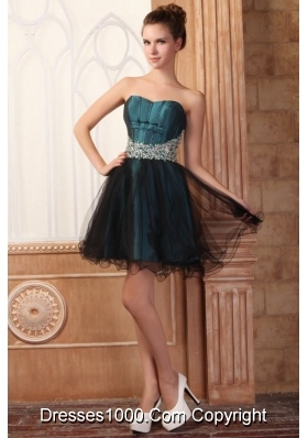 Attractive Summer Mini-length Strapless Prom Dresses with Beading