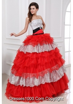 Silver and Red Sequin and Organza Ball Gown Dresses for Ladies